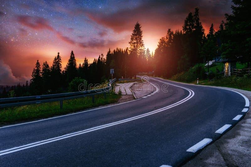 柏油路和偏僻的树在繁星之夜天空和银河下 库存照片