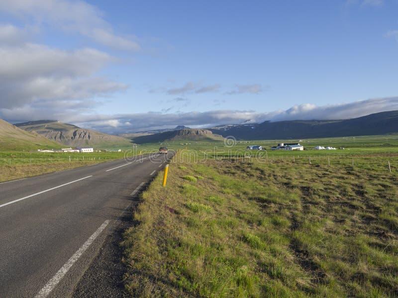 柏油路线通过与绿草的农村北部夏天风景 五颜六色的峭壁、绵羊和剧烈的天空 图库摄影