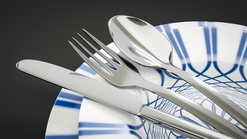某一典型的样式餐具 库存例证