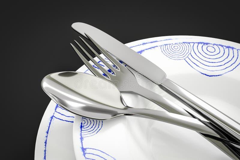 某一典型的样式餐具 皇族释放例证