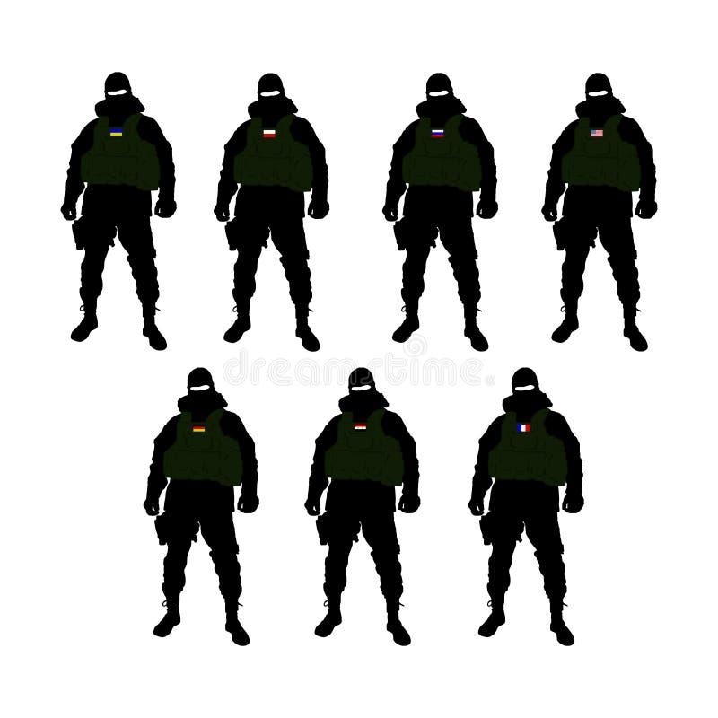 某些国家的特种部队战士 皇族释放例证