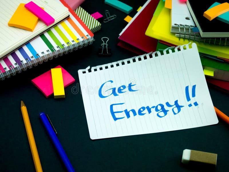 某人在您运转的书桌留下了信息;得到能量 免版税图库摄影