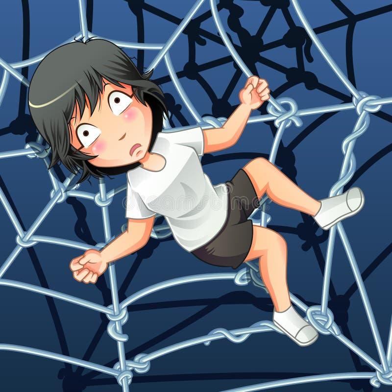 某人在蜘蛛网被困住 皇族释放例证