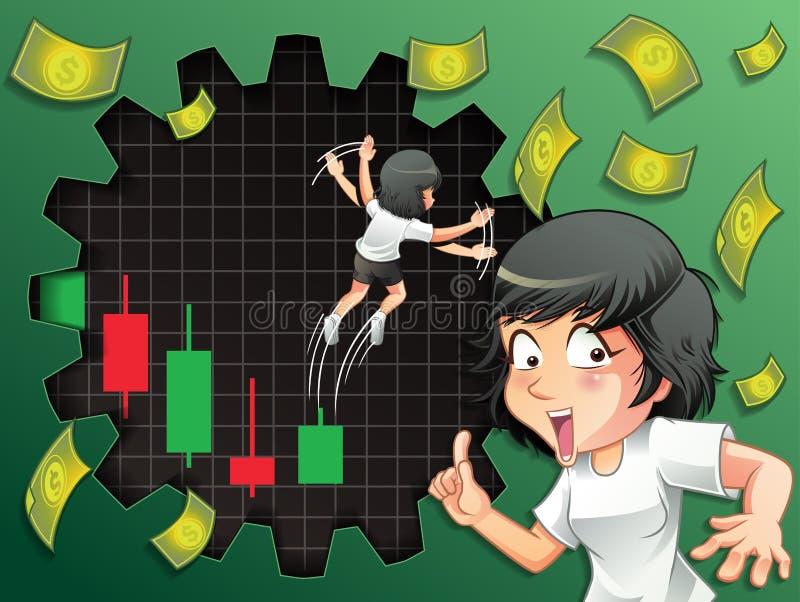 某人欲望看涨的周转股票 向量例证