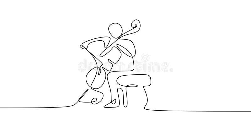 某人的实线弹奏古典音乐仪器的图画 皇族释放例证