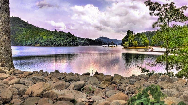 某处在Glenville的北卡罗来纳湖 库存图片