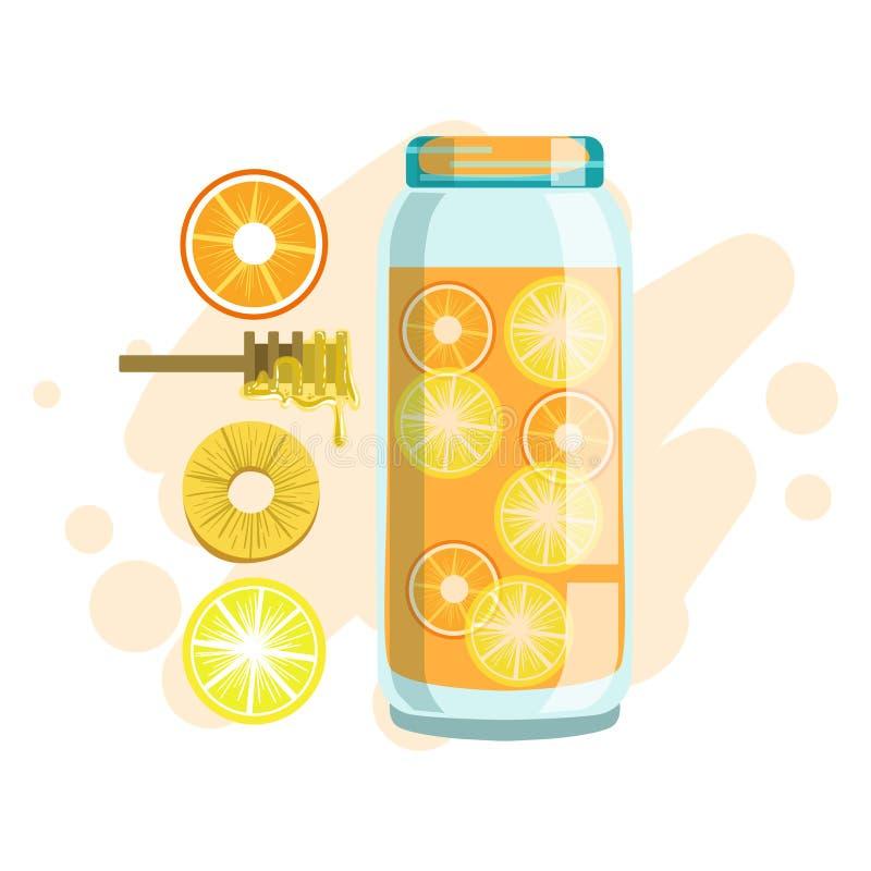 柑橘、菠萝和蜂蜜圆滑的人、非酒精新鲜的鸡尾酒在玻璃和成份它的传染媒介 库存例证