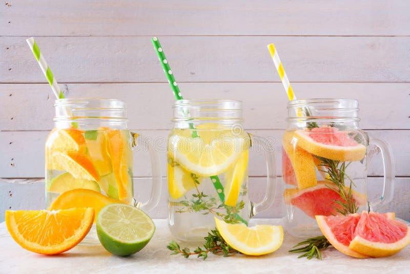 柑橘在金属螺盖玻璃瓶的被灌输的戒毒所水饮料品种反对木头 图库摄影