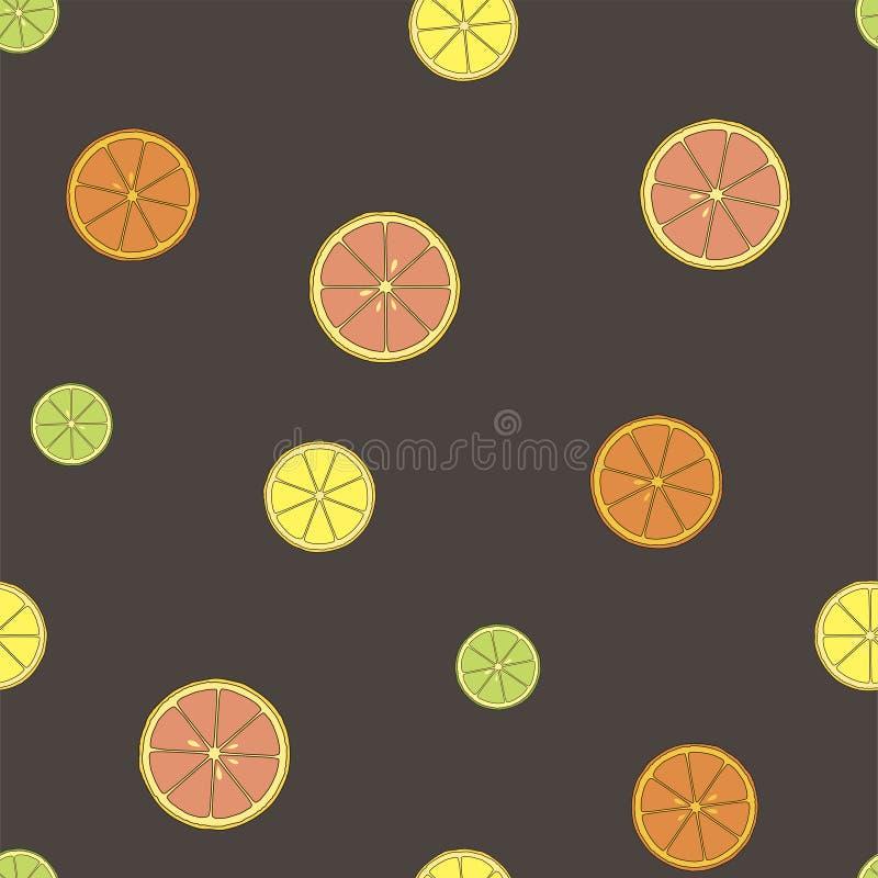 柑橘无缝的样式用柠檬、石灰、桔子和葡萄柚 向量 皇族释放例证