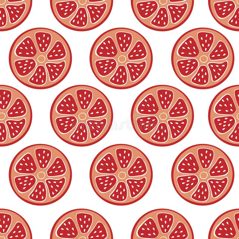 柑橘无缝的红色背景,时兴,简单的传染媒介葡萄柚,柚背景,新鲜的夏天维生素 皇族释放例证