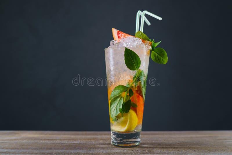 柑橘柠檬水用葡萄柚和蓬蒿,刷新的寒冷被冰 图库摄影