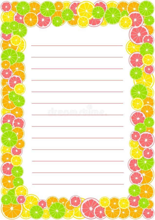 柑橘框架,与空间的边界与文本的线 夏天印刷品组成由黄色柠檬、绿色石灰、粉红色葡萄柚和桔子 皇族释放例证