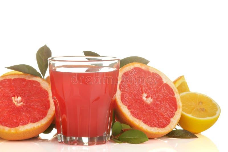 柑橘汁 在一块玻璃的葡萄柚汁用在白色被隔绝的背景的新鲜水果 免版税库存照片