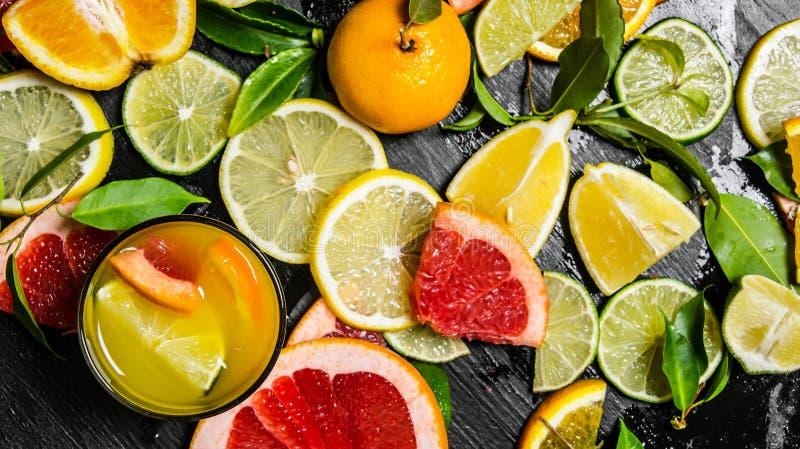 从柑橘水果的汁液-葡萄柚,桔子,蜜桔,柠檬,在玻璃的石灰 库存照片