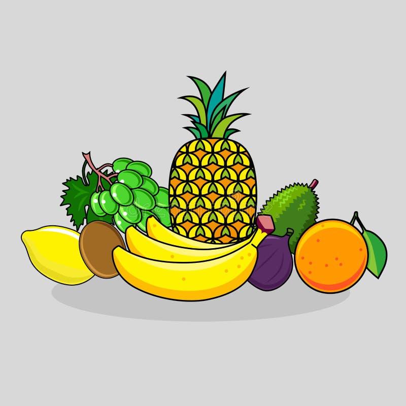 柑橘水果设置了热带 皇族释放例证