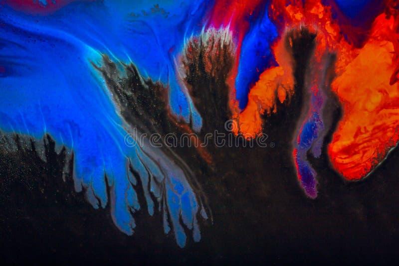 染料五颜六色和创造性的抽象背景在玻璃的 库存图片