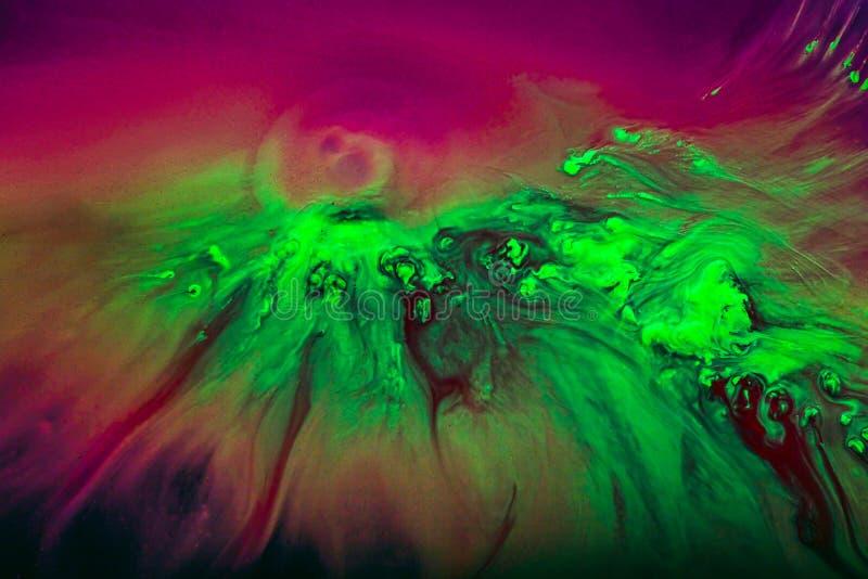 染料五颜六色和创造性的抽象背景在玻璃的 图库摄影