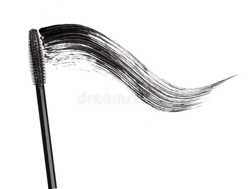 黑染睫毛油冲程有涂药器刷子特写镜头的 免版税库存照片