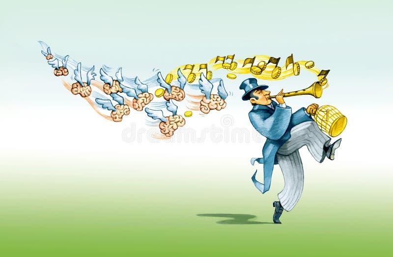 染色吹笛者 向量例证