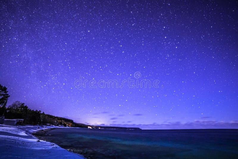 染色者咆哮,布鲁斯半岛在与银河的夜间和星 库存照片