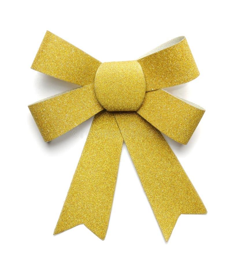 染黄丝带弓 免版税库存图片
