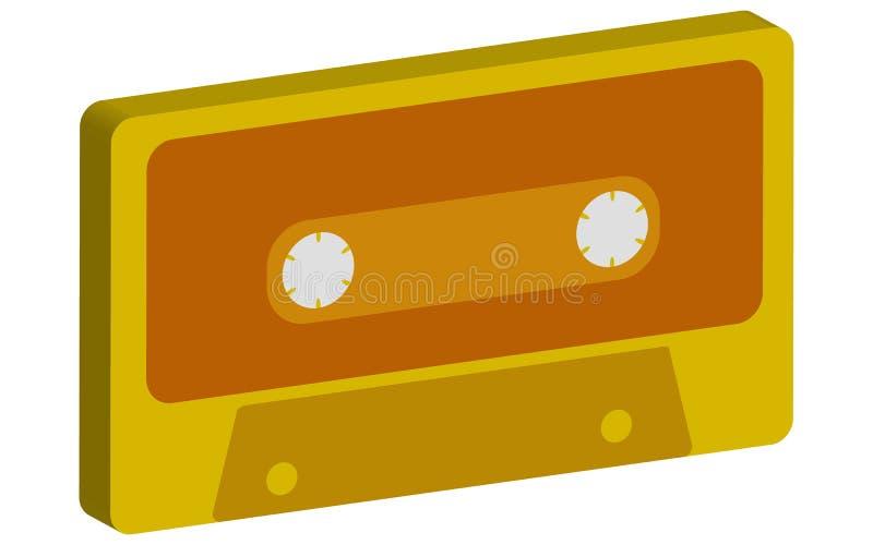 染黄,金子3d,容量音乐会,减速火箭,行家,老,老,从80 ` s, 90 `在白色背景的s的古董卡型盒式录音机 皇族释放例证