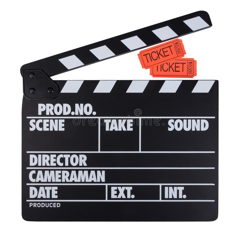 染黑与白色信件拍板和在w隔绝的电影票 库存图片