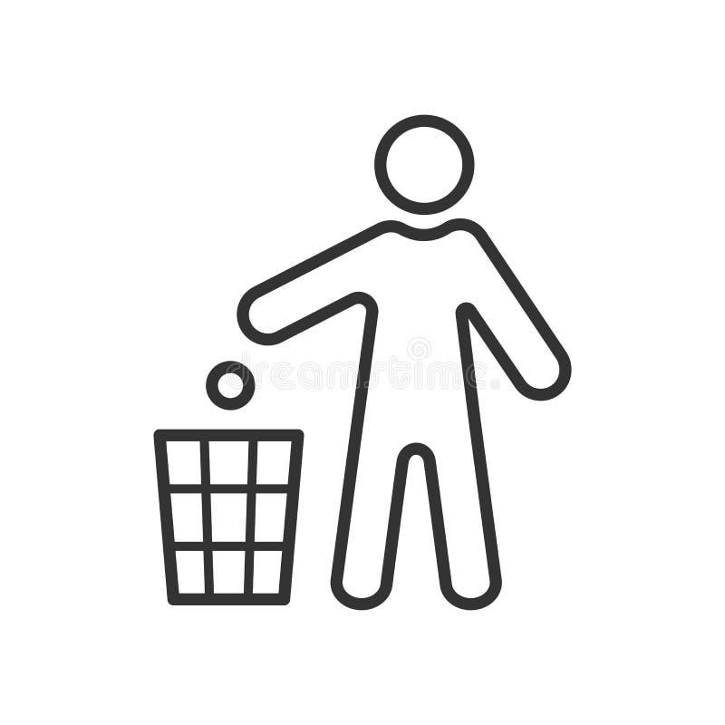染黑人投掷垃圾被隔绝的概述象到在白色背景的垃圾箱 线人对容器的投掷垃圾象  库存例证