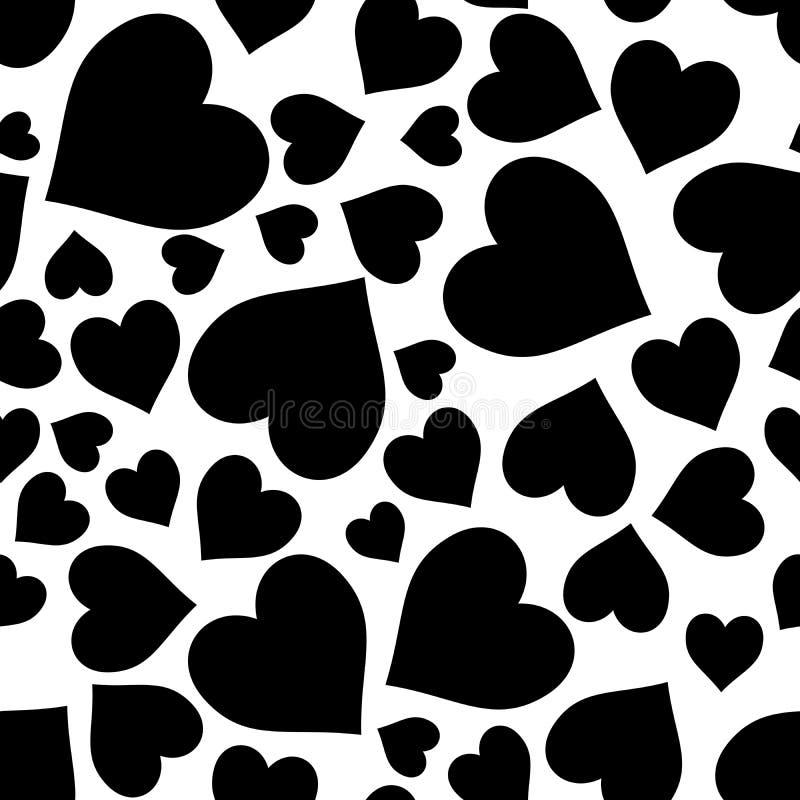 染黑在白色任意爱心脏样式无缝的重复背景 免版税图库摄影