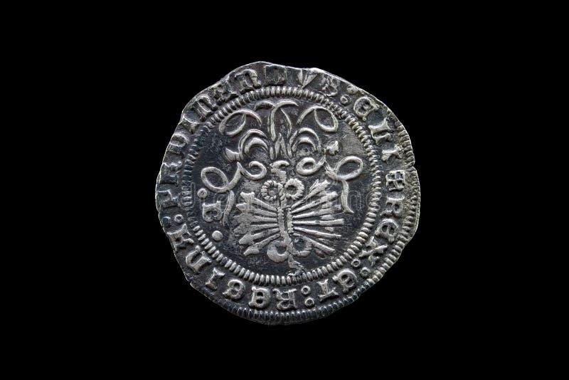 染黑宽容硬币查出的国王银色西班牙语 库存图片