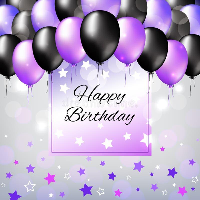 染黑并且成珠状紫色五颜六色的气球 生日宴会装饰 生日快乐贺卡设计有轻的背景 库存例证
