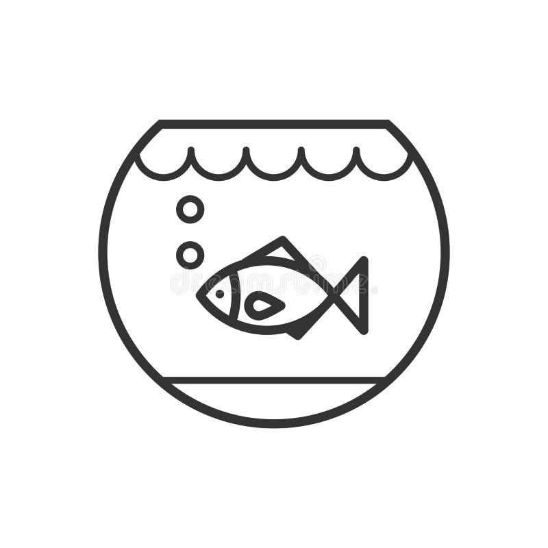 染黑水族馆被隔绝的概述象有鱼的在白色背景 线鱼碗象  向量例证