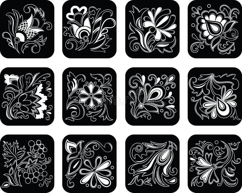 染黑被设置的装饰花 向量例证