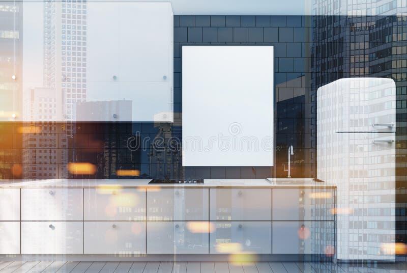 染黑铺磁砖的厨房,海报,被定调子的白色冰箱 库存例证