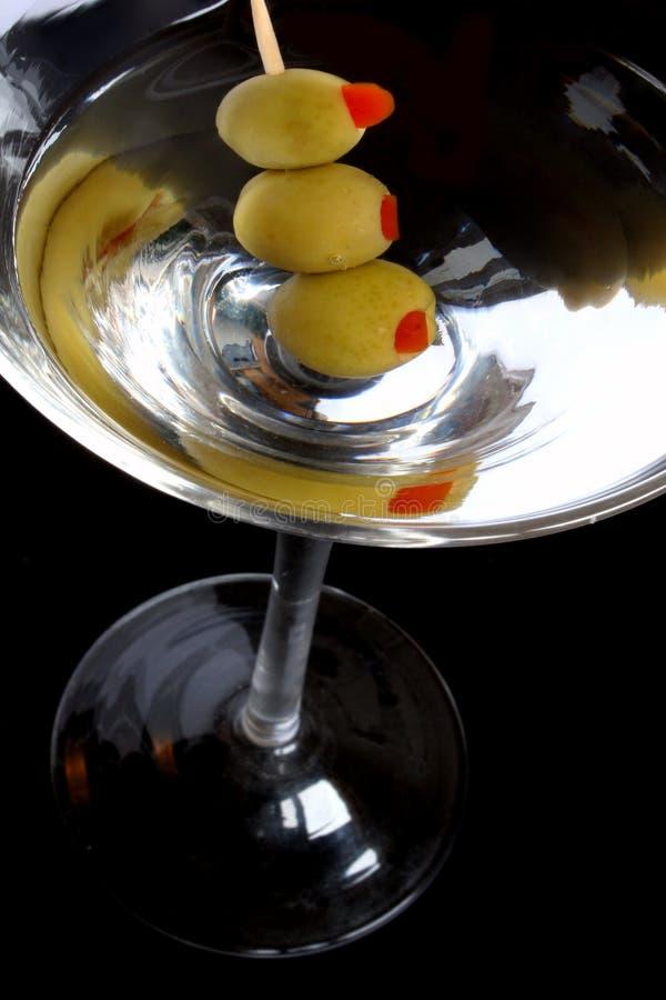 染黑马蒂尼鸡尾酒 免版税库存图片