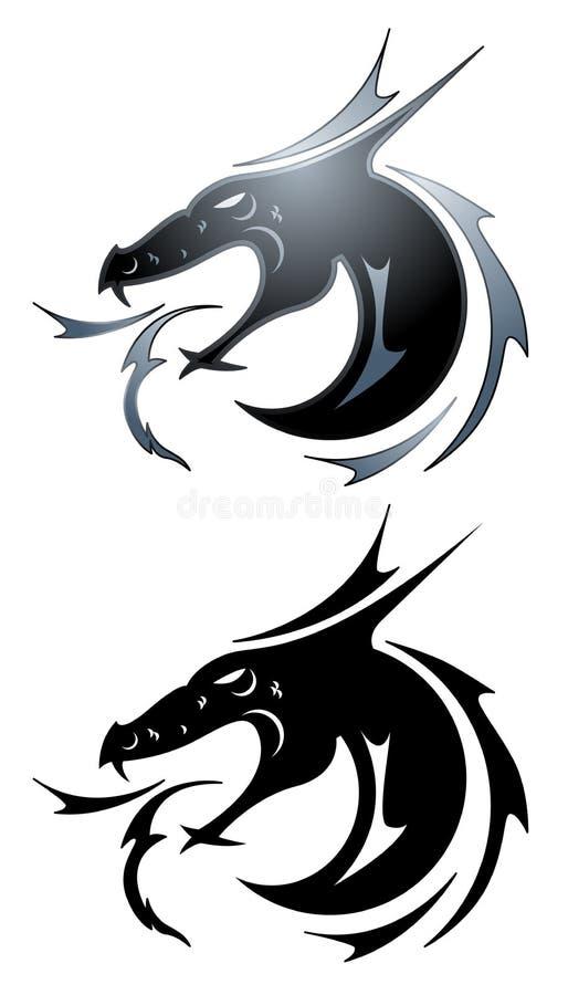 染黑龙纹身花刺