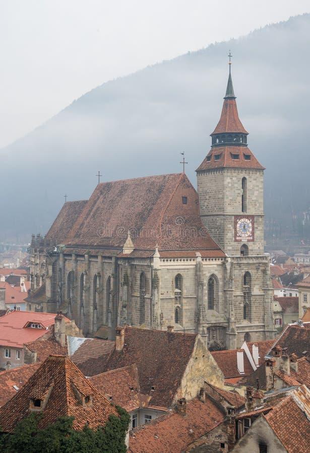 染黑brasov教会罗马尼亚 免版税图库摄影