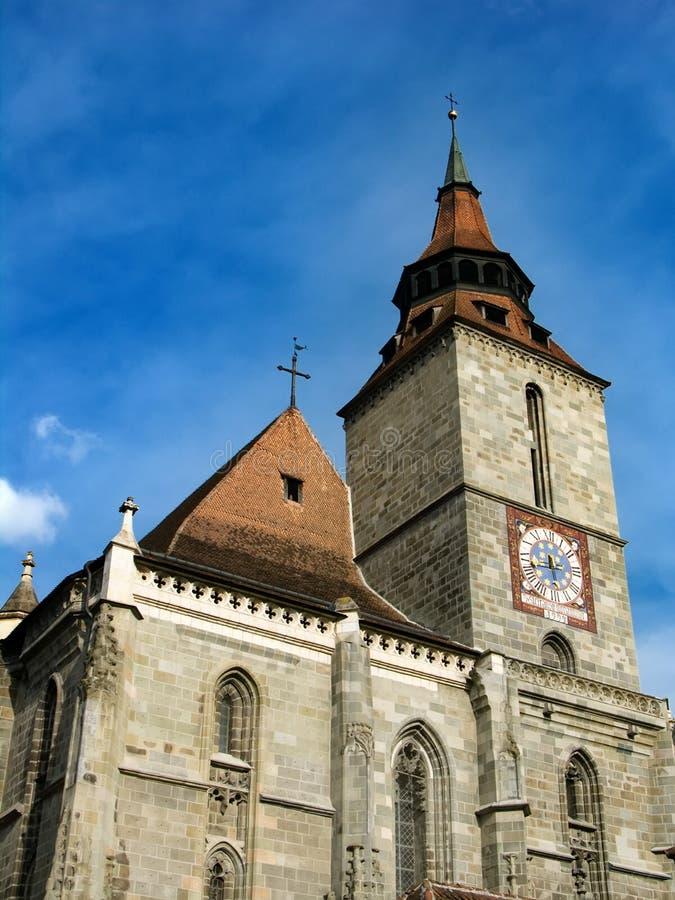 染黑brasov教会罗马尼亚 免版税库存图片