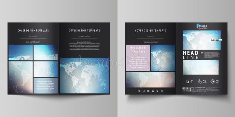 染黑两块A4格式现代盖子设计模板编辑可能的布局的色的传染媒介例证小册子的,飞行物 向量例证