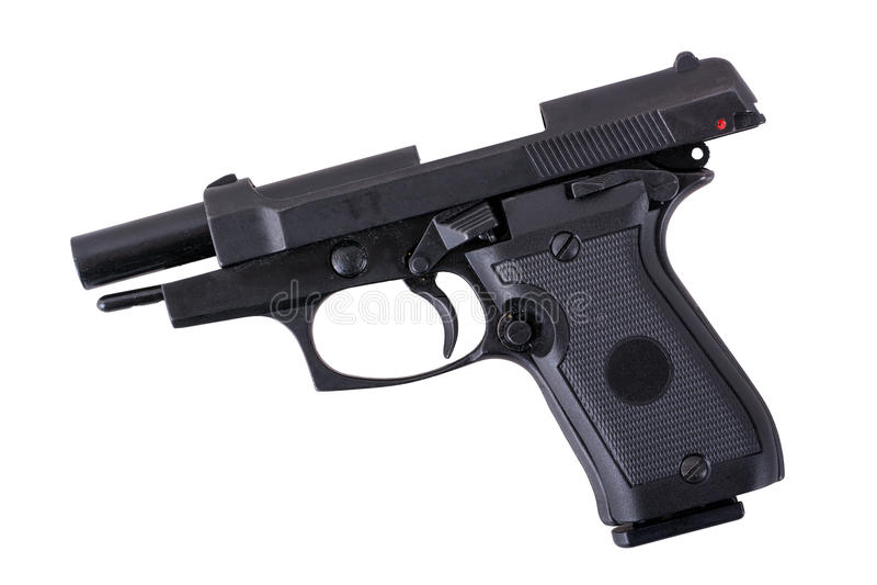 染黑半在白色背景的自动手枪 免版税库存照片