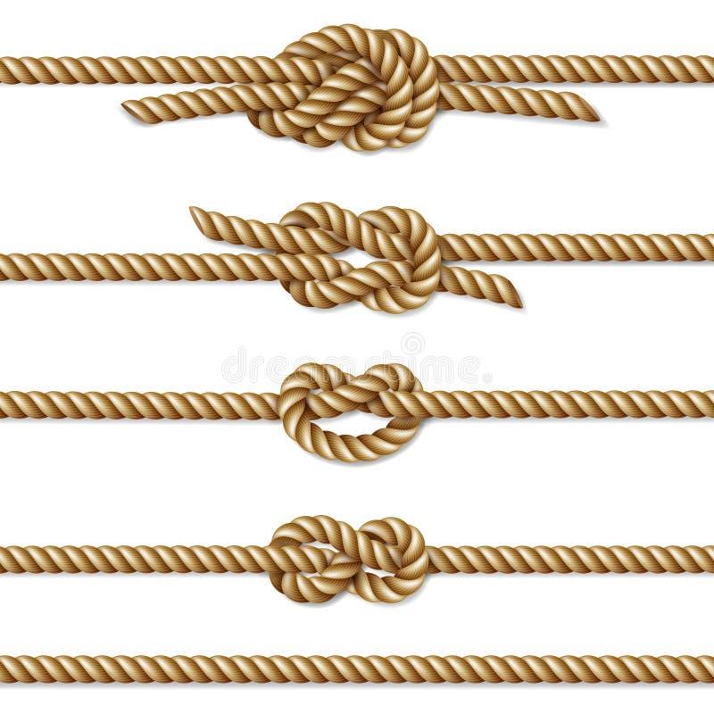 染黄扭转的绳索边界集合,隔绝在白色 库存例证