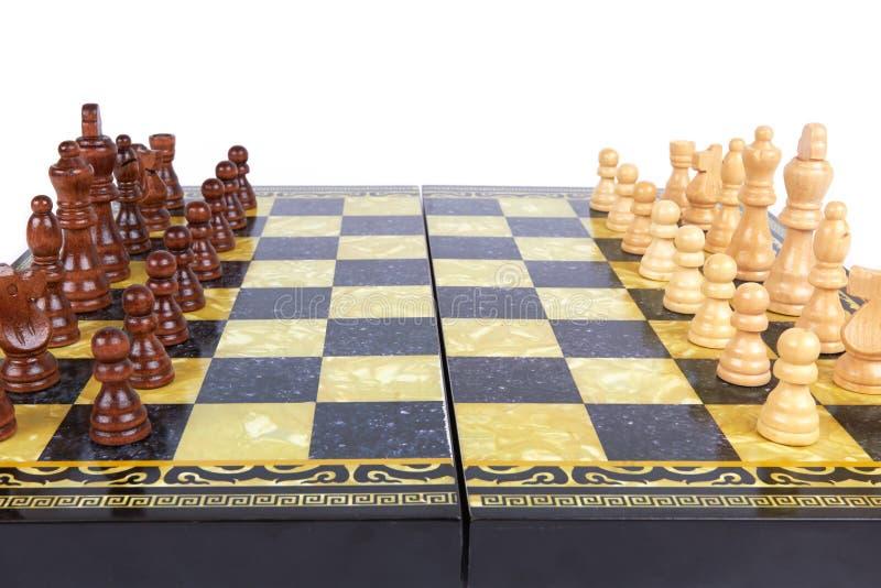 染黑董事会企业检查棋结尾的游戏高亮度显示损失伙伴黑白照片采取白色在方法成功的隐喻 图库摄影