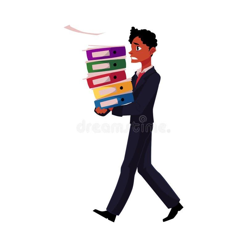 染黑,非裔美国人的商人超载与文件文件夹,紧张 库存例证
