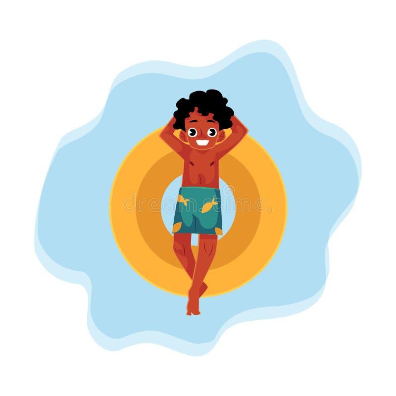 染黑,非裔美国人的男孩,在漂浮可膨胀的圆环的少年游泳 向量例证