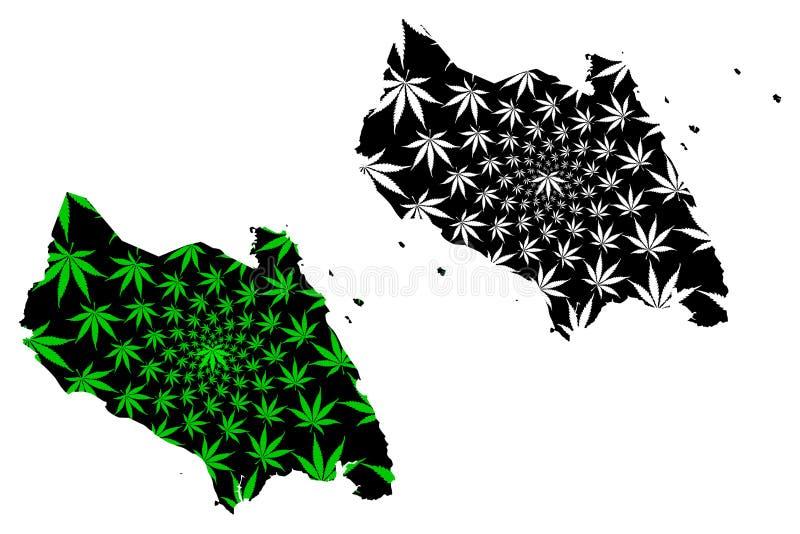 柔佛州状态和马来西亚,马来西亚地图的联盟的联邦疆土是被设计的大麻叶子绿色和黑色,柔佛 向量例证