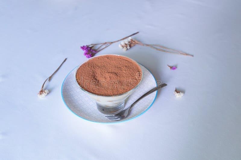柔和的咖啡点心 在奶油的曲奇饼 thiramisu 宏指令 图库摄影