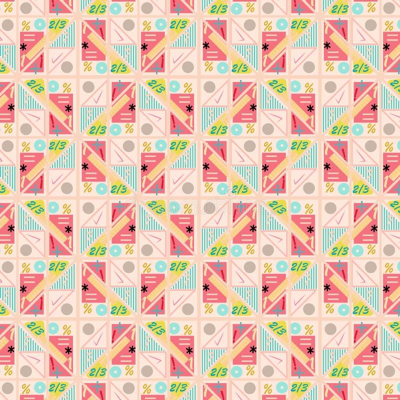 柔和的淡色彩上色了与算术标志和形状的现代几何重复样式 皇族释放例证