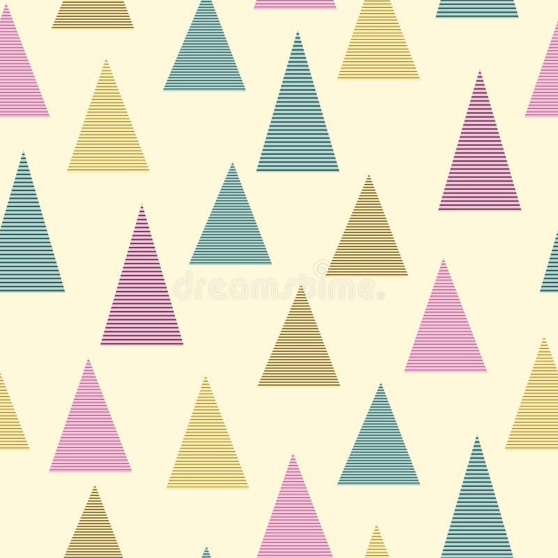 柔和的淡色彩上色了抽象简单的镶边三角几何无缝的样式,传染媒介 向量例证