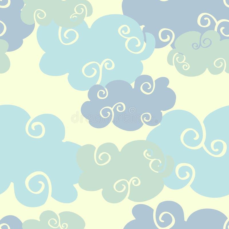 柔和的淡色彩色的传染媒介手拉的云彩无缝的样式 库存例证