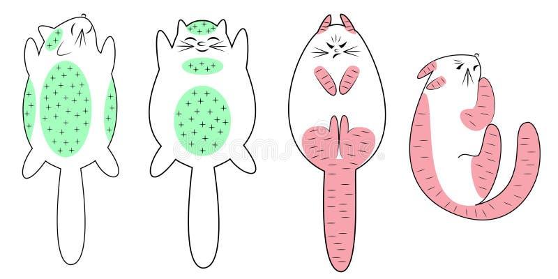 ?? 柔和的猫,您能放松电烙 恼怒的宠物,紧张,它不可能被接触 动物谎言 r 向量例证